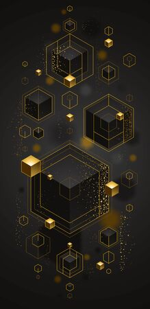Cubes cluster with golden elements lines and dots vector abstract background, 3D abstraction vip luxury style, jewelry classy elegant geometric design, shiny gold. Ilustração