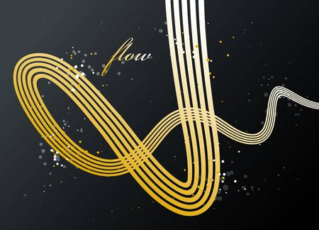 Abstract golden lines in 3D motion dimensional perspective vector background, gold elegant curvy light stripy design element, luxury theme template for ads.