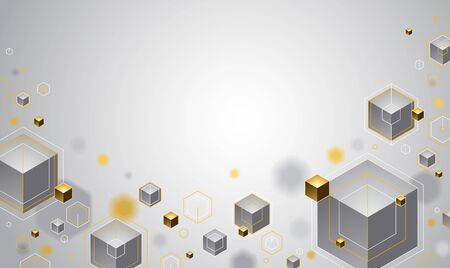 Cubes with golden elements lines and dots vector abstract background with copy space, 3D abstraction vip luxury style, geometric design, technology and science theme. Иллюстрация