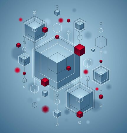 Abstract vector design with cluster of 3D cubes with red and blue elements vector design, can be used for technology and science abstraction art. Иллюстрация
