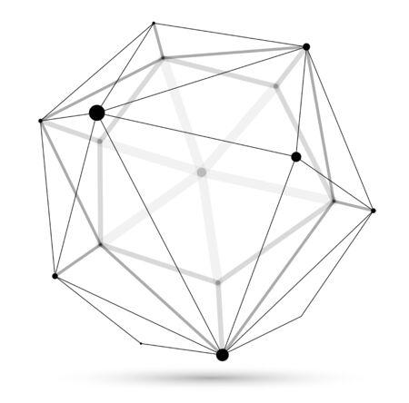Abstraction vectorielle de la sphère en treillis dimensionnelle, forme abstraite de conception polygonale 3D isolée sur blanc, connexions dynamiques numériques scientifiques avec des lignes et des points avec perspective.
