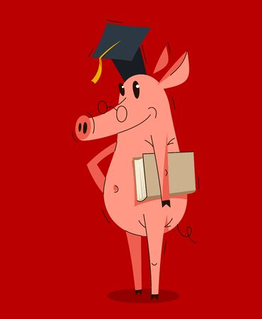 Funny cartoon pig wearing student hat and holding a book graduate student vector illustration, smart swine education theme humorous animal character drawing.