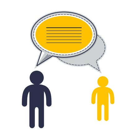 Technical support employee and customer asking question inquiry, two man with speech bubbles vector flat design.