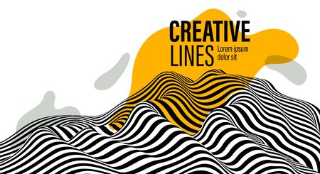 3D black and white lines in perspective with yellow fluid liquid paint splat abstract vector background, linear perspective terrain pattern op art. 向量圖像