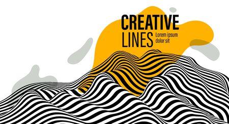 Lignes 3D noires et blanches en perspective avec fond de vecteur abstrait éclaboussure de peinture liquide fluide jaune, motif de terrain perspective linéaire op art.