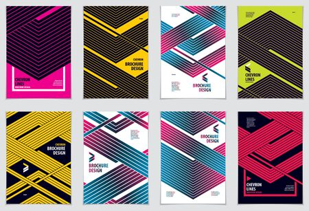 Brochure Design Templates minimal design. Modern Geometric Abstract patterns vector backgrounds set. Striped line textured geometric illustrations. A4 print format.