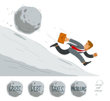 Business man run from a stone symbolizes problems such as debt crisis or taxes vector illustration, funny comic cute cartoon businessman worker or employee in a rush. 向量圖像