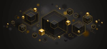 Abstract vector design with cluster of 3D cubes with golden elements vector design, luxury color style, jewelry classy elegant geometric design, shiny gold realistic abstraction. Ilustração