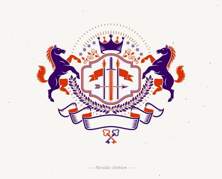 Vintage decorative emblem composed using graceful horse illustration, imperial crown and spears, heraldic vector.