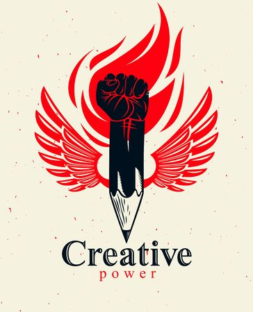 Strong design or art power concept shown as a winged pencil with clenched fist combined into symbol, creative conceptual icon for designer or studio.