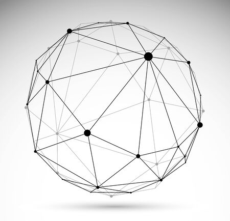 Abstract 3D mesh sphere vector illustration, dots connected with lines technology polygonal object isolated on white background, dynamic tech and science lattice. Ilustración de vector