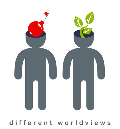 Different worldviews concept with two men good and bad displaying their minds with bomb exploding and small plant growing, life and death, destructive and constructive. Illustration