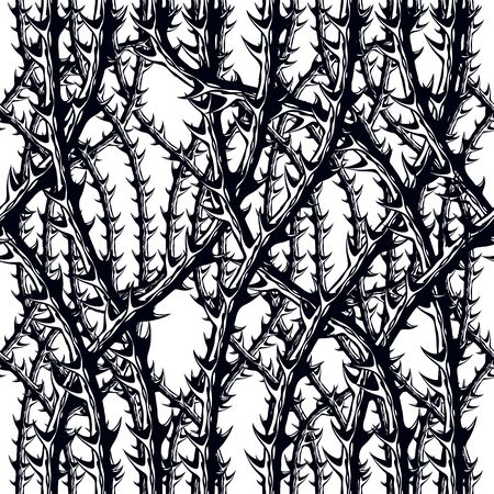 Horror style horrible seamless pattern, background. Blackthorn branches with thorns stylish endless illustration. Hard Rock and Heavy metal subculture music textile fashion stylish design.