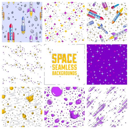 Set of seamless space backgrounds with rockets, planets, asteroids, comets, meteors and stars, undiscovered deep cosmos fantastic textiles fabric for children, endless tiling pattern, vector. 矢量图像
