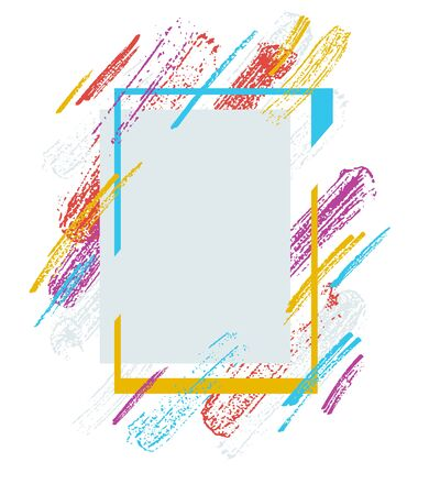 Artistic geometric frame with hand drawn brush strokes vector abstract background, art style bright shiny colors, modern design isolated over white.