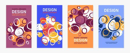 Hand drawn art vector covers circles abstract backgrounds set, artistic graphic design brochures flyers or booklets, advertising colorful positive posters, textured abstraction funny and cute. 矢量图像