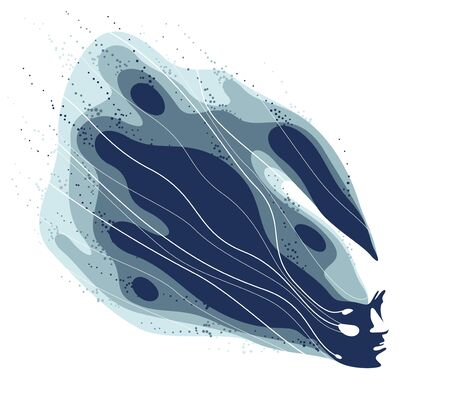Man head with abstract fluids flying from it vector philosophical illustration, psychology insight and meditation theme, thinking and dreaming, mindfulness. 矢量图像