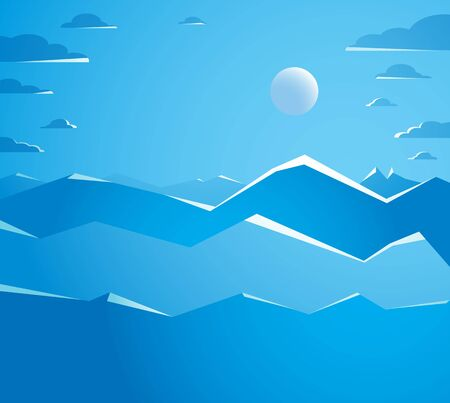 Beautiful mountain landscape with moon in the night, moon over peak scenic nature vector illustration, tranquil calm image for relaxing. Ilustração