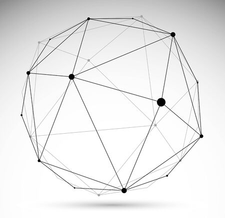 Abstract 3D mesh sphere vector illustration, dots connected with lines technology polygonal object isolated on white background, dynamic tech and science lattice.