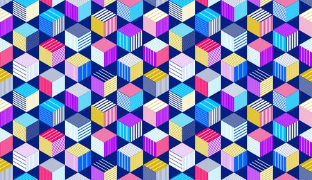 Seamless cubes vector background, lined boxes repeating tile pattern, 3D architecture and construction, geometric design. 矢量图像