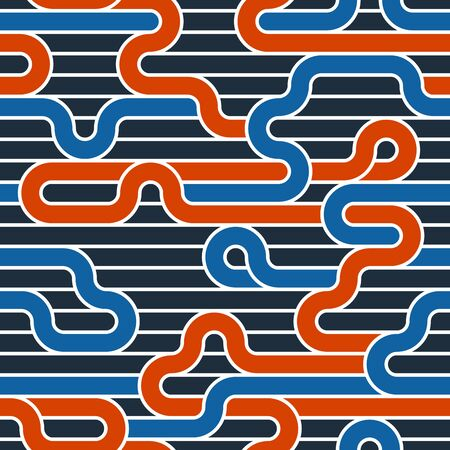 Lined seamless vector pattern with twisted lines, geometric abstract background, stripy net, optical maze, web network. Colorful design. 矢量图像