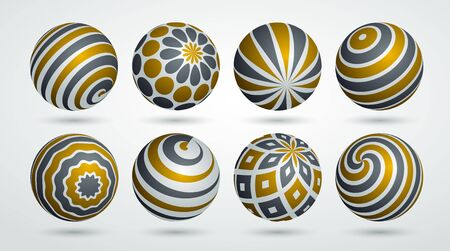 Abstract spheres vector set, collection of balls decorated with patterns, 3D mixed variety realistic globes with ornaments collection.