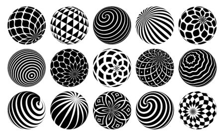 Decorated spheres vector illustrations set, abstract beautiful balls with patterns, 3D globes design concept collection, single color black and white useful for logos.