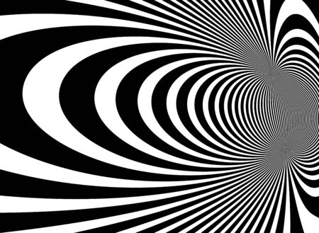 Op art distorted perspective black and white lines in 3D motion abstract vector background, optical illusion insane linear pattern, artistic psychedelic illustration. Векторная Иллюстрация