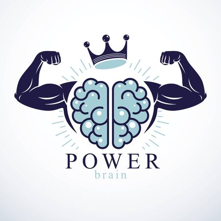 Power Brain emblem, genius concept. Vector design of human anatomical brain with strong bicep hands of bodybuilder. Brain training, grow IQ, mental health. 矢量图像