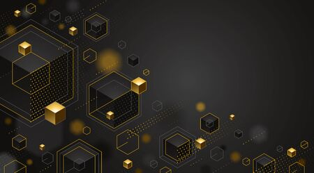Abstract vector design with cluster of 3D cubes with golden elements vector design with copy space, luxury color style, jewelry classy elegant geometric design, shiny gold realistic abstraction. Ilustração
