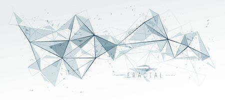 Mesh object fractal design with connected lines vector abstract background, low poly polygonal elements in 3D perspective, science and technology theme.