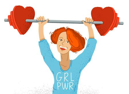 Young adorable happy feminist woman pushed up barbell with heart shaped weights on it vector illustration, smiling girl with GRL PWR on her sweater shows the real power of women.