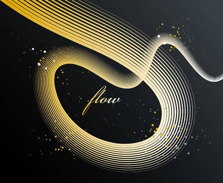 Abstract elegant golden curvy thin lines vector abstract background, gold elegant light stripy design element, luxury theme template for ads.