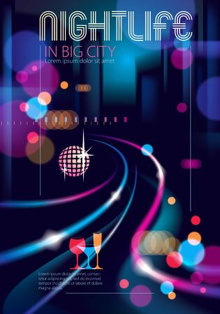 Night city life with street lamps and bokeh blurred lights. Effect vector beautiful background. Blur colorful dark background with cityscape, buildings silhouettes skyline. Brochure, flyer, cover, poster or guidebook template.