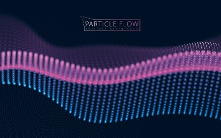 Digital wave of flowing particles in motion. Vector abstract dark background. Mesh of glowing dots, beautiful illustration.