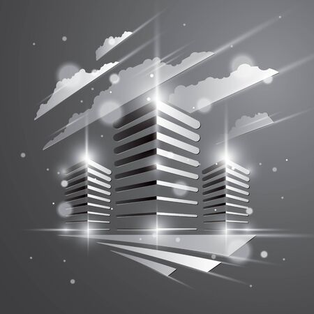 Futuristic building, modern style vector architecture illustration with blurred lights and glares effect. Real estate realty business center grey monochrome design. 3D business office facade in city. 矢量图像