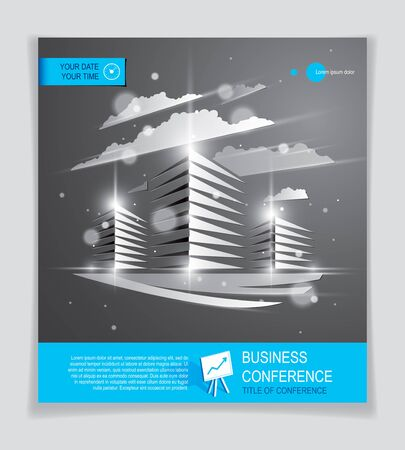 Office building brochure, modern architecture vector flyer with blurred lights and glares effect. Real estate business center grey design. 3D futuristic facade business conference print template. 矢量图像