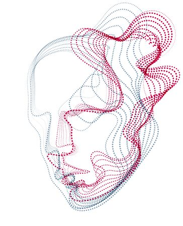 Beautiful futuristic illustration of human head made of dotted particles flow array, wavy shapes lines vector electronic soul of futuristic smart machines. 矢量图像