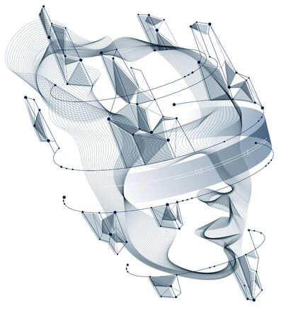 Futuristic idea of digital software soul of machine, spirit of technocratic time evolution period, human head vector illustration made of dotted particle flow array. 矢量图像