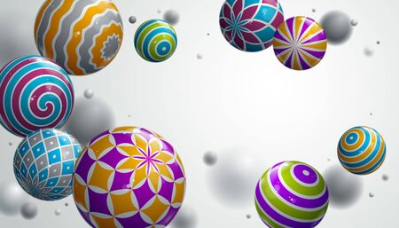 Abstract glossy realistic spheres vector background with blank copy space, composition of flying balls decorated with patterns, 3D mixed realistic globes, realistic depth of field effect.