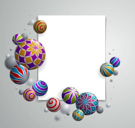 Realistic glossy spheres vector illustration with blank paper sheet, abstract background with beautiful balls with patterns and depth of field effect, 3D globes design concept art. 矢量图像