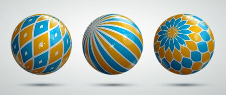 Abstract vector realistic glossy spheres set, beautiful festive balls collection decorated with pattern, graphic design elements. 矢量图像