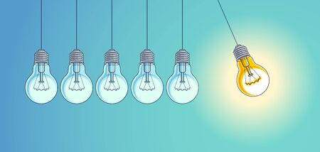 Light bulb Newton cradle pendulum idea, vector illustration. Stockfoto - 149965487