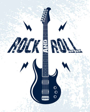 Rock and Roll emblem with electric guitar vector logo, concert festival or night club label, music theme illustration, guitar shop or t-shirt print, rock band sign with stylish typography. Ilustrace