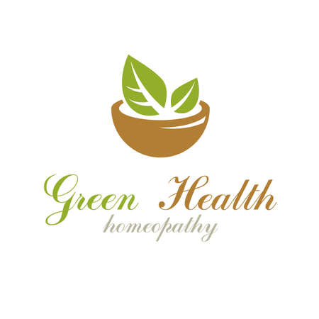 Mortar and pestle graphic vector symbol composed with green leaves. Homeopathy creative logo for use in medicine, rehabilitation or pharmacology.