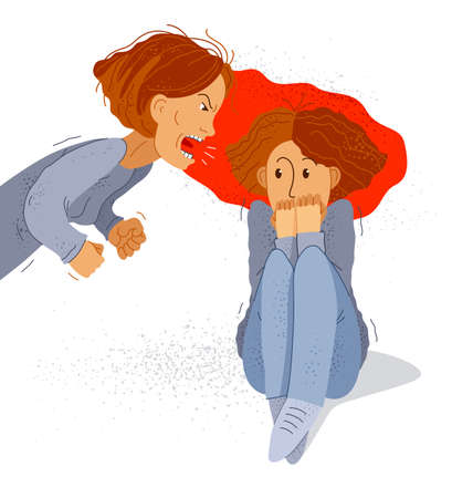 Abusive mother vector illustration, bad mother scream and shout on scared teen girl her daughter, domestic violence, victim child, despotic parent, psychological violence abuse.