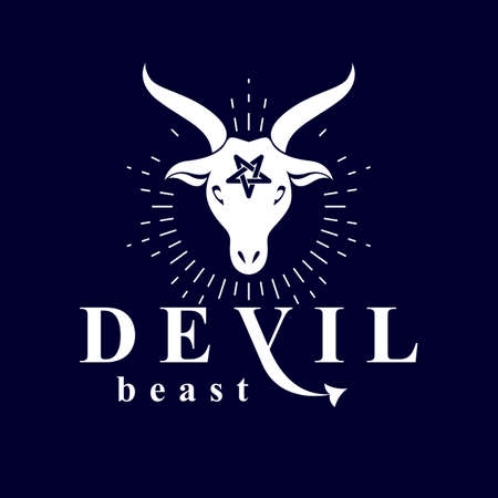 Vector graphic emblem of horned goat head made with a pentacle symbol as the illustration of Satan.