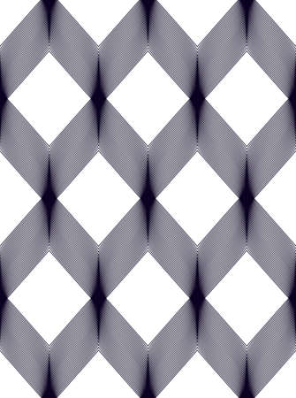 Geometric seamless pattern, abstract tiling background, vector repeat endless wallpaper illustration. Wavy curve shapes trendy repeat motif. Single color, black and white. Usable for fabric, wallpaper, wrapping, web and print. Illustration