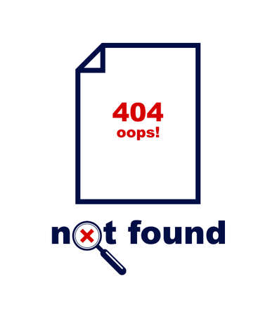 Error 404 page not found vector concept icon, internet website down, simple flat design. Illustration