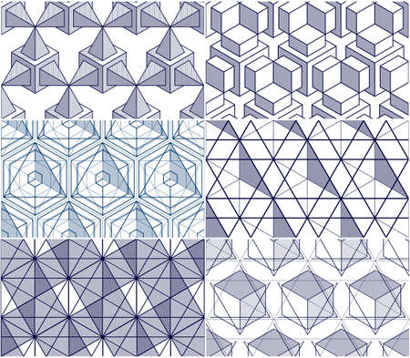 Geometric cubes abstract seamless patterns set, 3d vector backgrounds collection. Technology style engineering line drawing endless illustrations. Usable for fabric, wallpaper, wrapping. Single color, black and white. Illustration